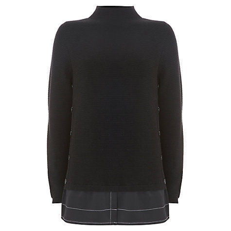 Buy Mint Velvet Contrast Stitch Knitted Jumper, Black Online at johnlewis.com