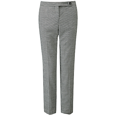 Pure Collection Dogtooth Tailored Trousers, Black