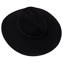 Buy French Connection Wool Whipstitch Trim Fedora, Black Online at johnlewis.com
