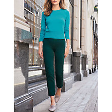 Buy Pure Collection Cotton Stretch Cropped Trousers, Green Online at johnlewis.com