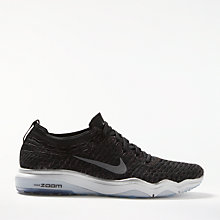 Buy Nike Air Zoom Fearless Flyknit Metallic Women's Training Shoe, Black/Grey Online at johnlewis.com