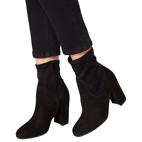 Buy Dune Oliah Block Heeled Ankle Sock Boots, Black Online at johnlewis.com