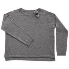 Buy Outside the Lines Girls' Split Side Brooch Jumper, Grey Online at johnlewis.com