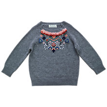 Buy Outside the Lines Girls' Knot Detail Fringed Jumper, Grey Online at johnlewis.com