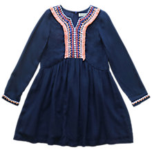 Buy Outside the Lines Girls' Embroidered Detail Dress, Navy Online at johnlewis.com