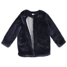 Buy Outside the Lines Girls' Deep Pile Faux Fur Coat, Midnight Online at johnlewis.com