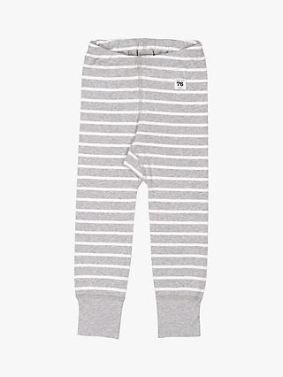 Polarn O. Pyret Children's GOTS Organic Cotton Stripe Leggings, Grey