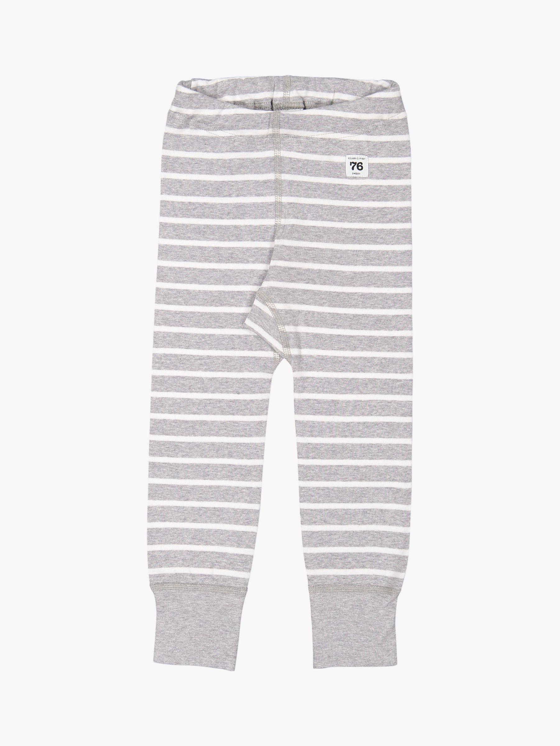 Polarn O. Pyret Polarn O. Pyret Children's GOTS Organic Cotton Stripe Leggings, Grey