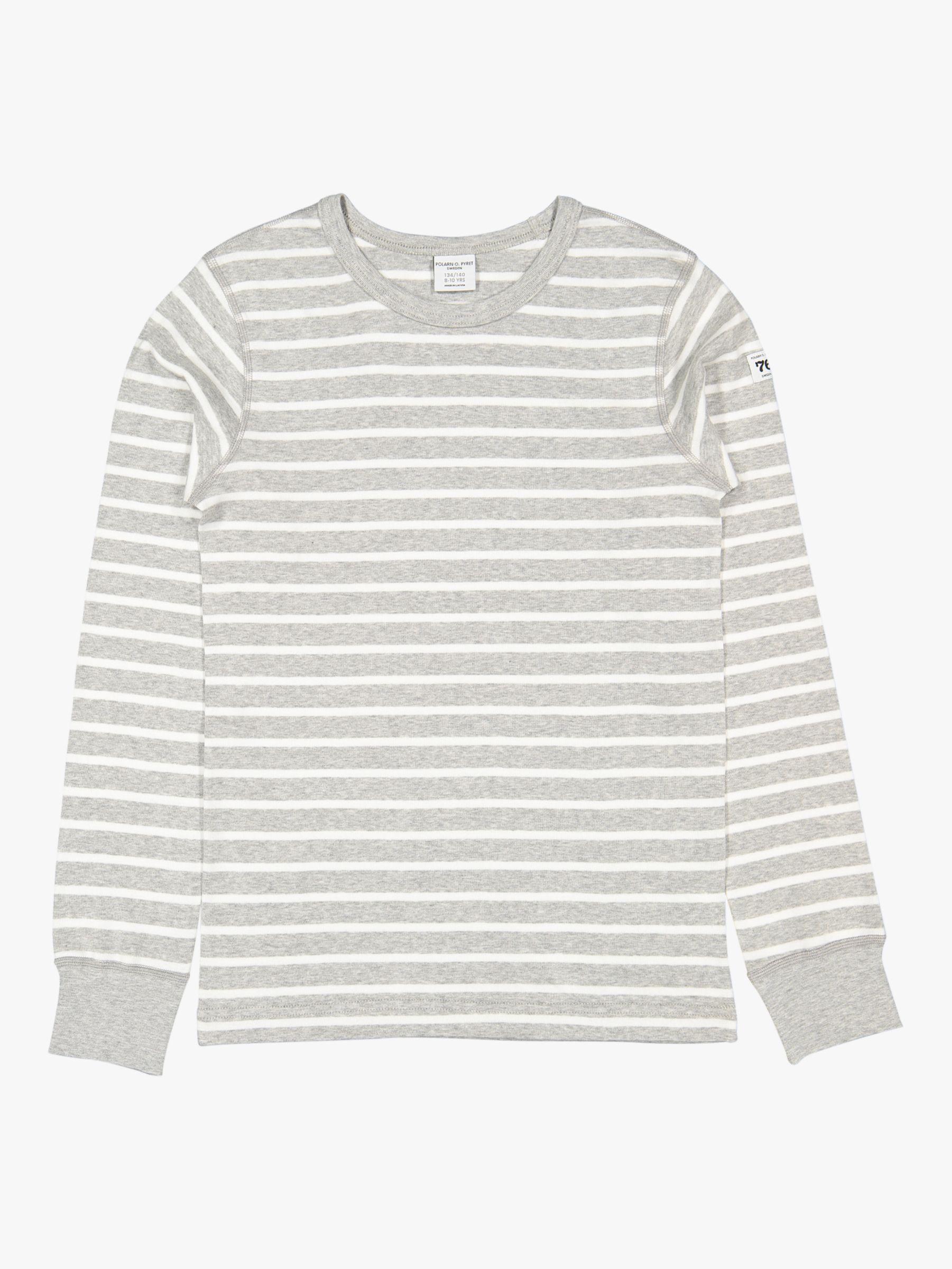 Polarn O. Pyret Polarn O. Pyret Children's GOTS Organic Cotton Stripe Long Sleeve Top, Grey