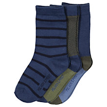 Buy Polarn O. Pyret Baby Striped Socks, Pack of 3, Blue Online at johnlewis.com