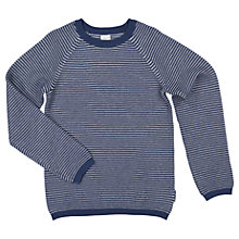 Buy Polarn O. Pyret Children's Striped Knit Jumper, Blue Online at johnlewis.com