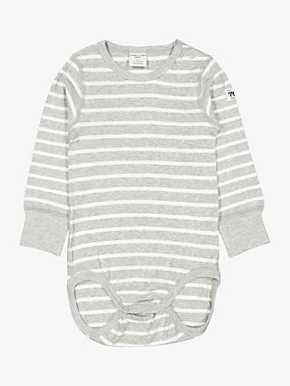 Polarn O. Pyret Baby Stripe Long Sleeve Bodysuit, Grey