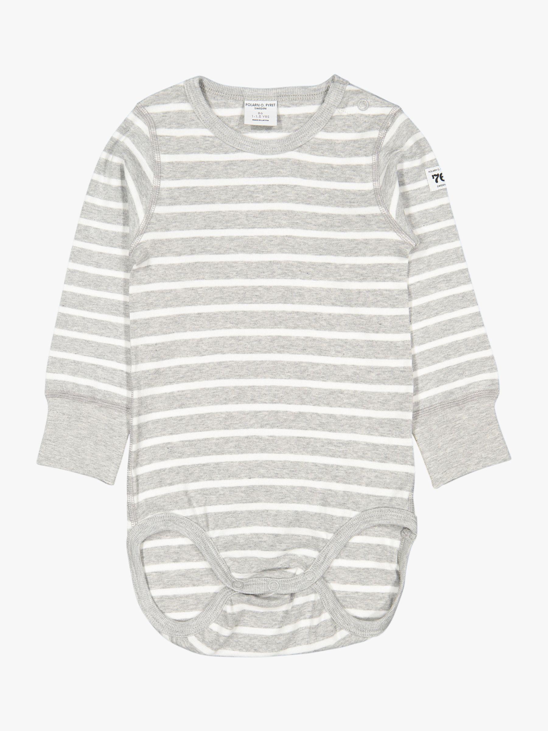 Polarn O. Pyret Polarn O. Pyret Baby GOTS Organic Cotton Stripe Long Sleeve Bodysuit, Grey
