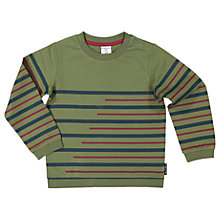 Buy Polarn O. Pyret Children's Stripe Long Sleeve Top, Green Online at johnlewis.com