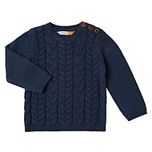 Buy John Lewis Baby Cable Knit Crew Neck Jumper, Navy Online at johnlewis.com