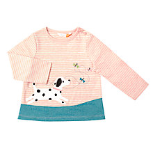 Buy John Lewis Baby Dog Scene T-Shirt, Pink/Cream Online at johnlewis.com