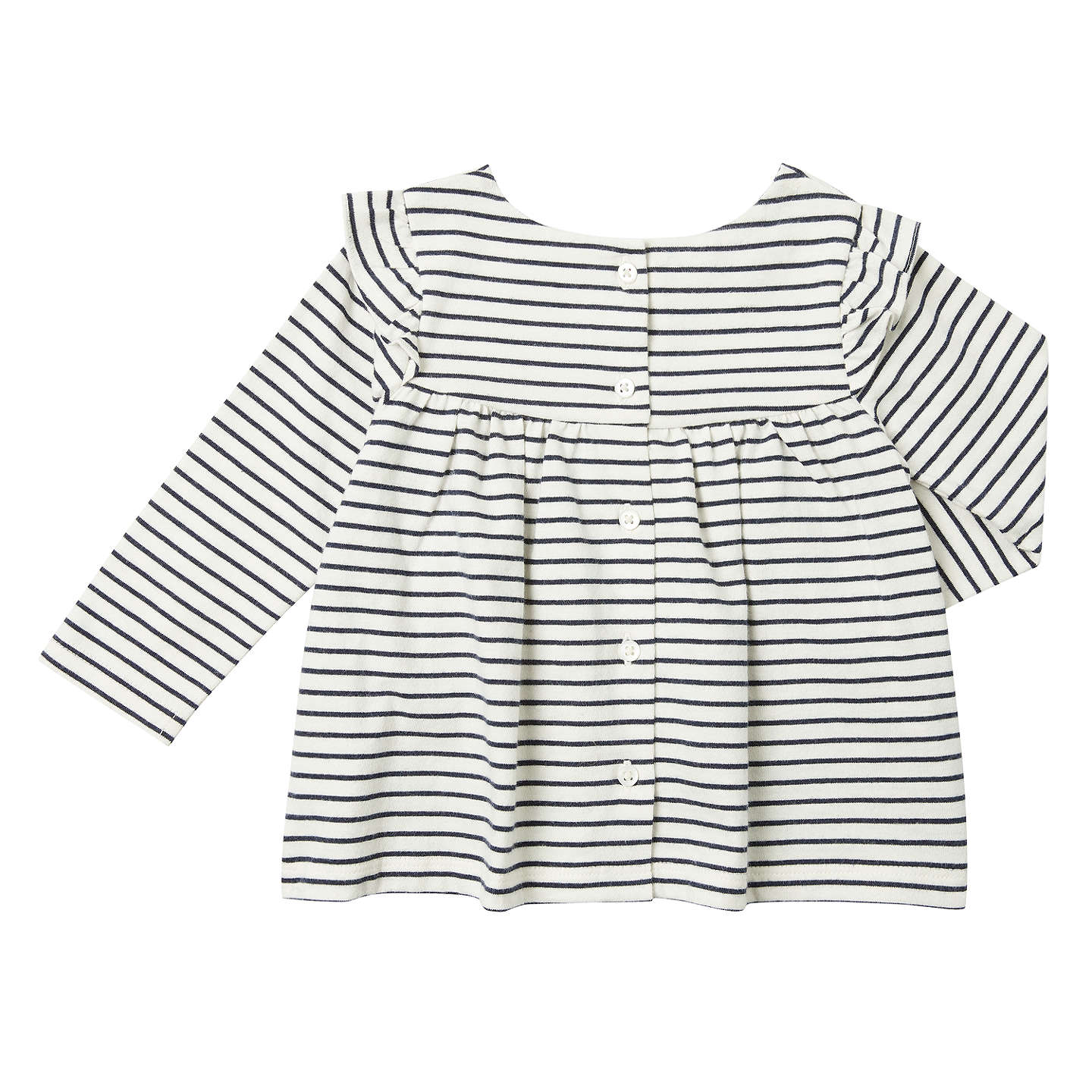 BuyJohn Lewis Baby Stripe Jersey Blouse, Cream/Navy, 0-3 months Online at johnlewis.com