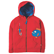Buy Frugi Organic Boys' Fish and Worm Lucas Hoodie, Red Online at johnlewis.com