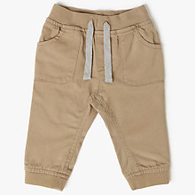 Buy John Lewis Baby Cuffed Twill Trousers, Stone Online at johnlewis.com