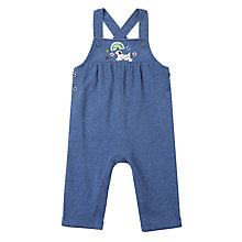 Buy John Lewis Baby Striped Badge Dungaree Outfit Set, Navy Online at johnlewis.com