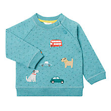 Buy John Lewis Baby Dog and Car Badge Sweatshirt, Green Marl Online at johnlewis.com