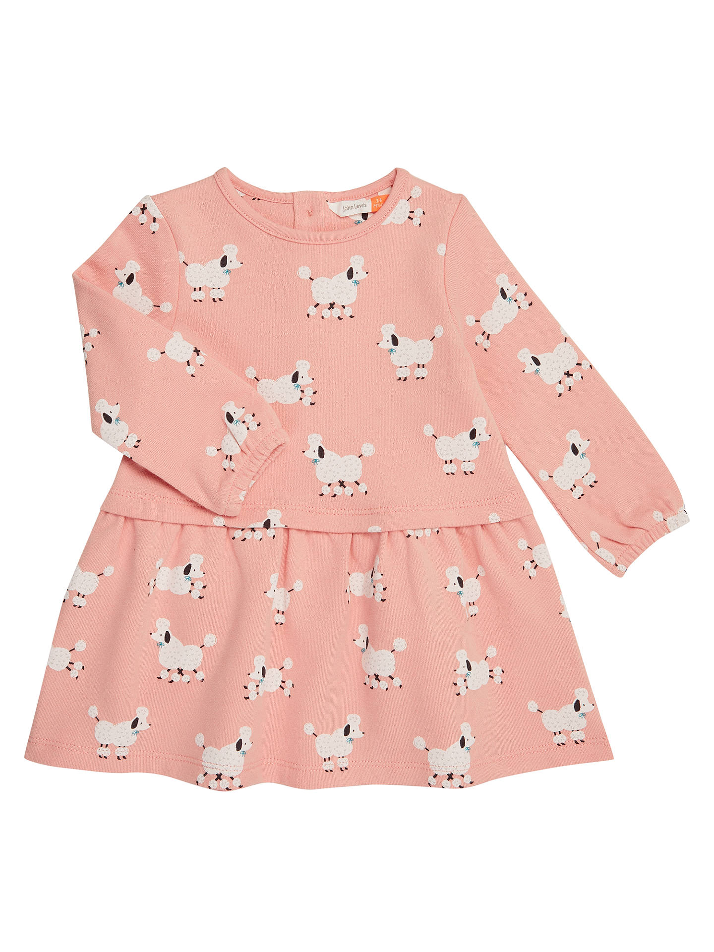 BuyJohn Lewis & Partners Baby Poodle Print Sweatshirt Dress, Pink, 0-3 months Online at johnlewis.com