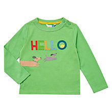 Buy John Lewis Baby Hello Long Sleeve T-Shirt, Green Online at johnlewis.com