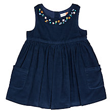 Buy John Lewis Baby Embroidered Corduroy Dress, Navy Online at johnlewis.com