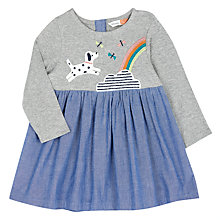 Buy John Lewis Baby Dog Rainbow Dress, Grey/Blue Online at johnlewis.com