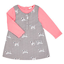Buy John Lewis Baby Dog Pinafore and T-Shirt Set, Grey Online at johnlewis.com