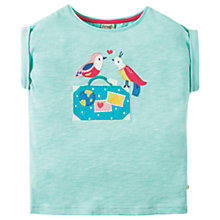 Buy Frugi Organic Girls' Sophia Bird Slub Cotton T-Shirt, Blue/Pink Online at johnlewis.com