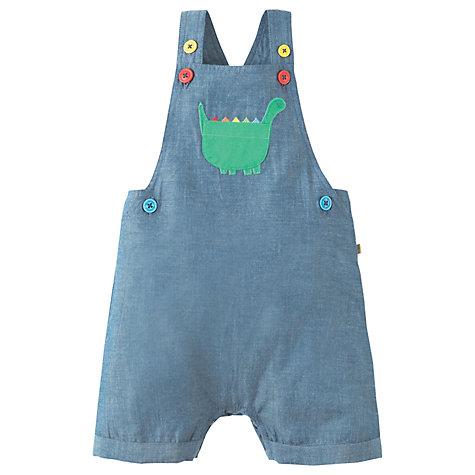 Buy Frugi Organic Baby Chambray Dino Dungarees, Blue | John Lewis