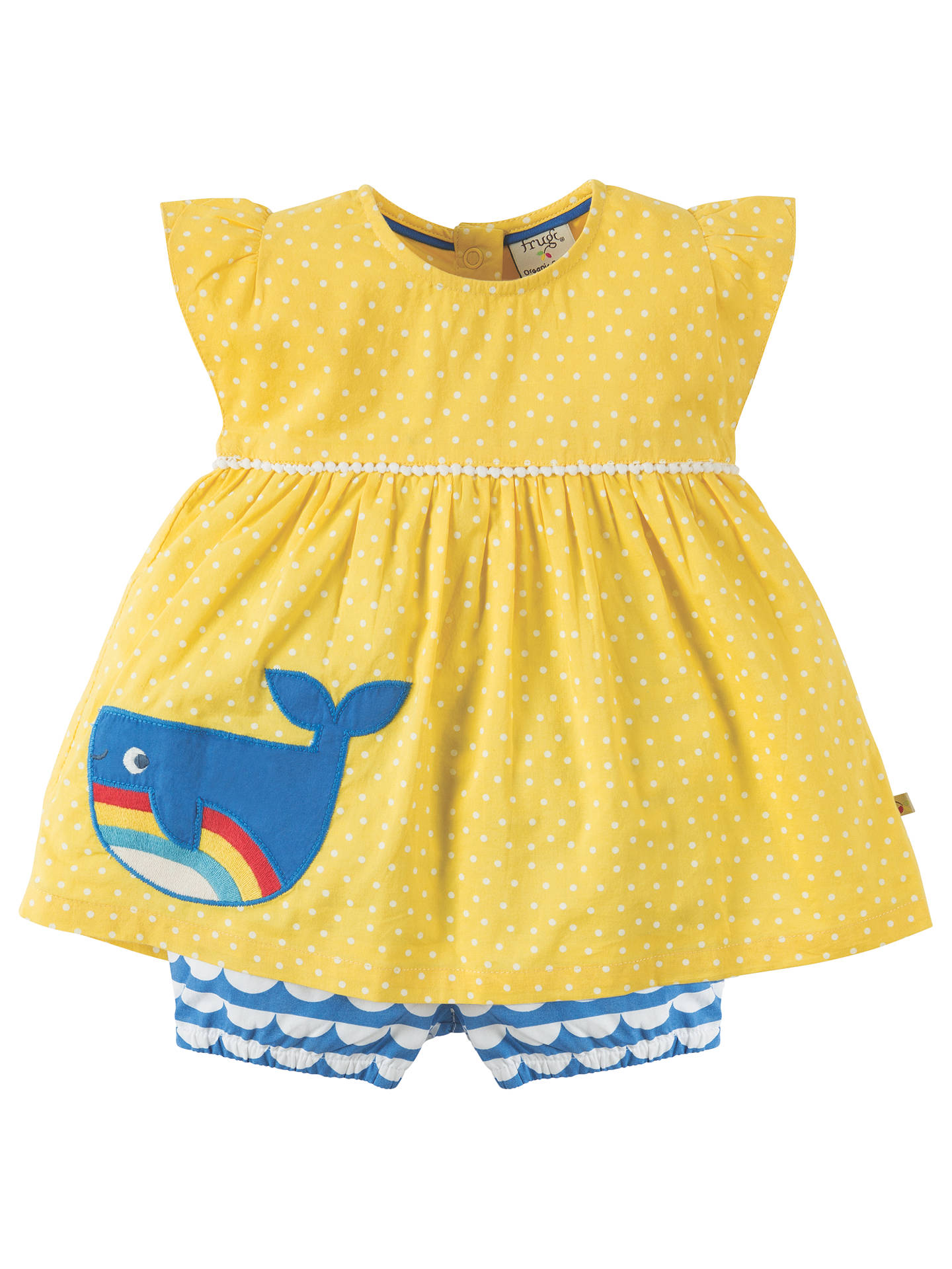 614c3ea99d5ae Buy Frugi Organic Baby Waterfall Whale Top and Shorts Set, Multi, 0-3 ...
