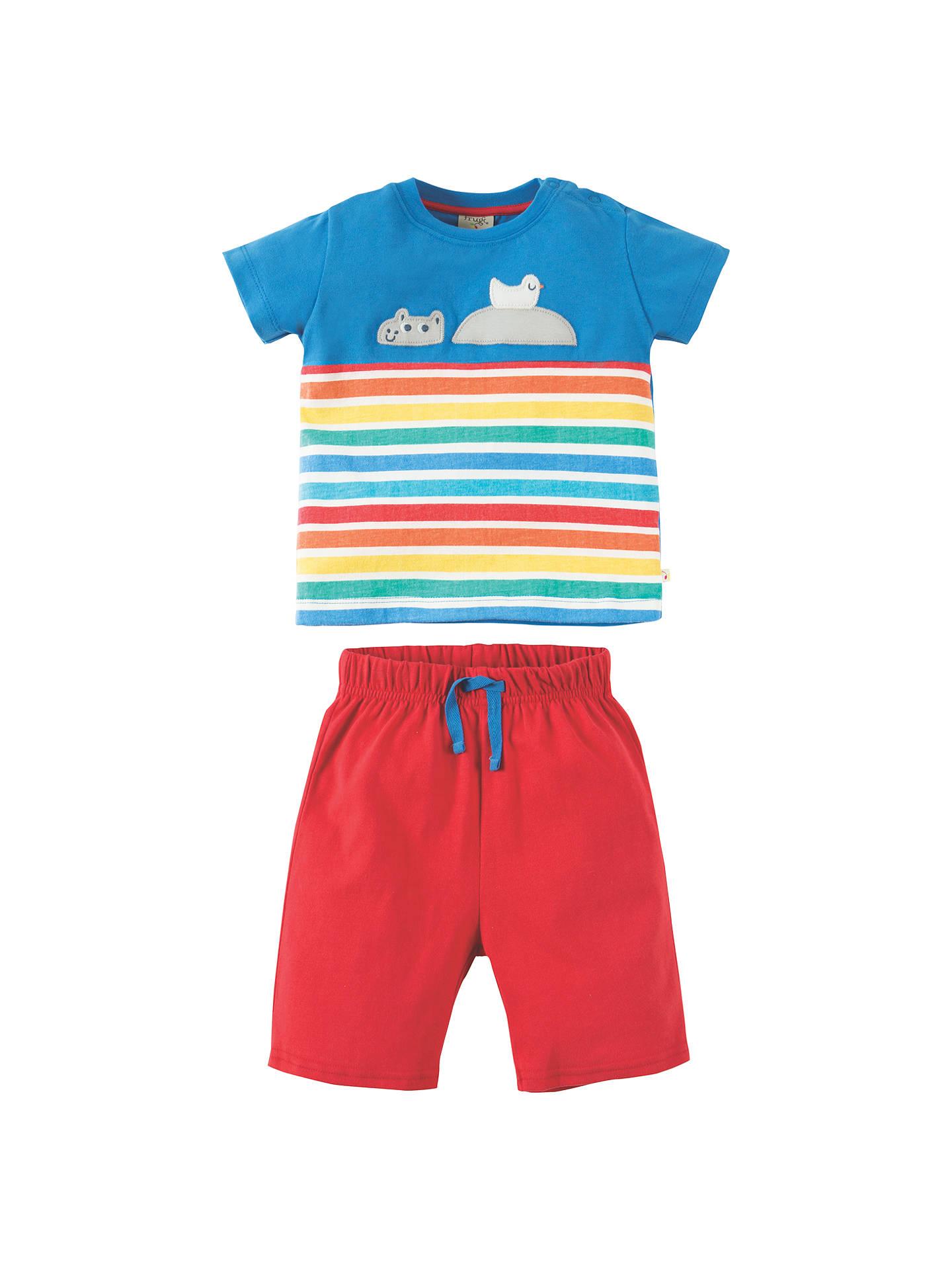 4f9f1bcd723c7 Frugi Organic Baby Hippo Rainbow Top & Shorts Set, Blue/Red at John ...