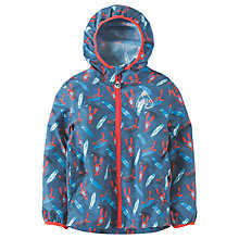 Buy Frugi Organic Children's Puddle Buster Pack Away Jacket, Blue Online at johnlewis.com