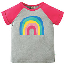 Buy Frugi Organic Girls' Rainbow Print Raglan T-Shirt, Grey/Pink Online at johnlewis.com