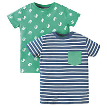 Buy Frugi Organic Boys' Tresco Cactus Stripe T-Shirts, Pack of 2, Green/Blue Online at johnlewis.com