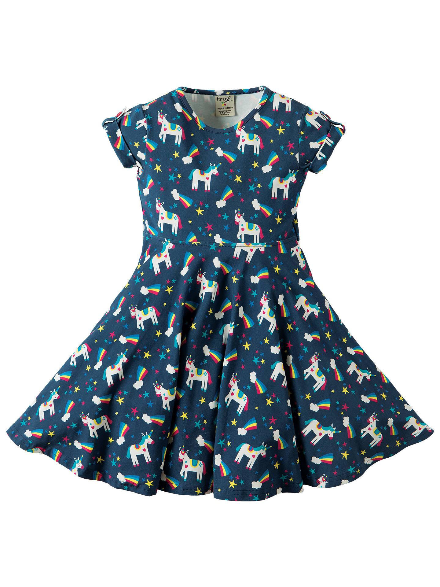 Frugi Organic Girls  Magical Rainbow Unicorn Spring Skater Dress ... 79bc19ad4