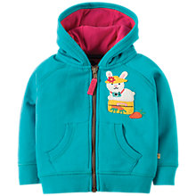 Buy Frugi Organic Baby Hayle Bunny Hoodie, Turquoise Online at johnlewis.com