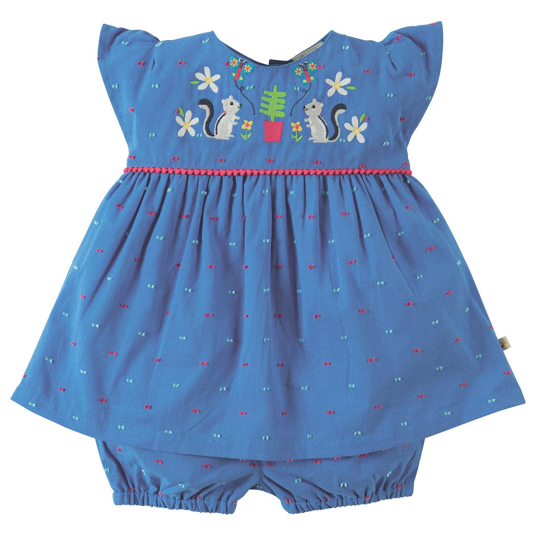 Frugi Organic Baby Dobby Squirrel 2 Dress & Knickers Set, Blue at ...