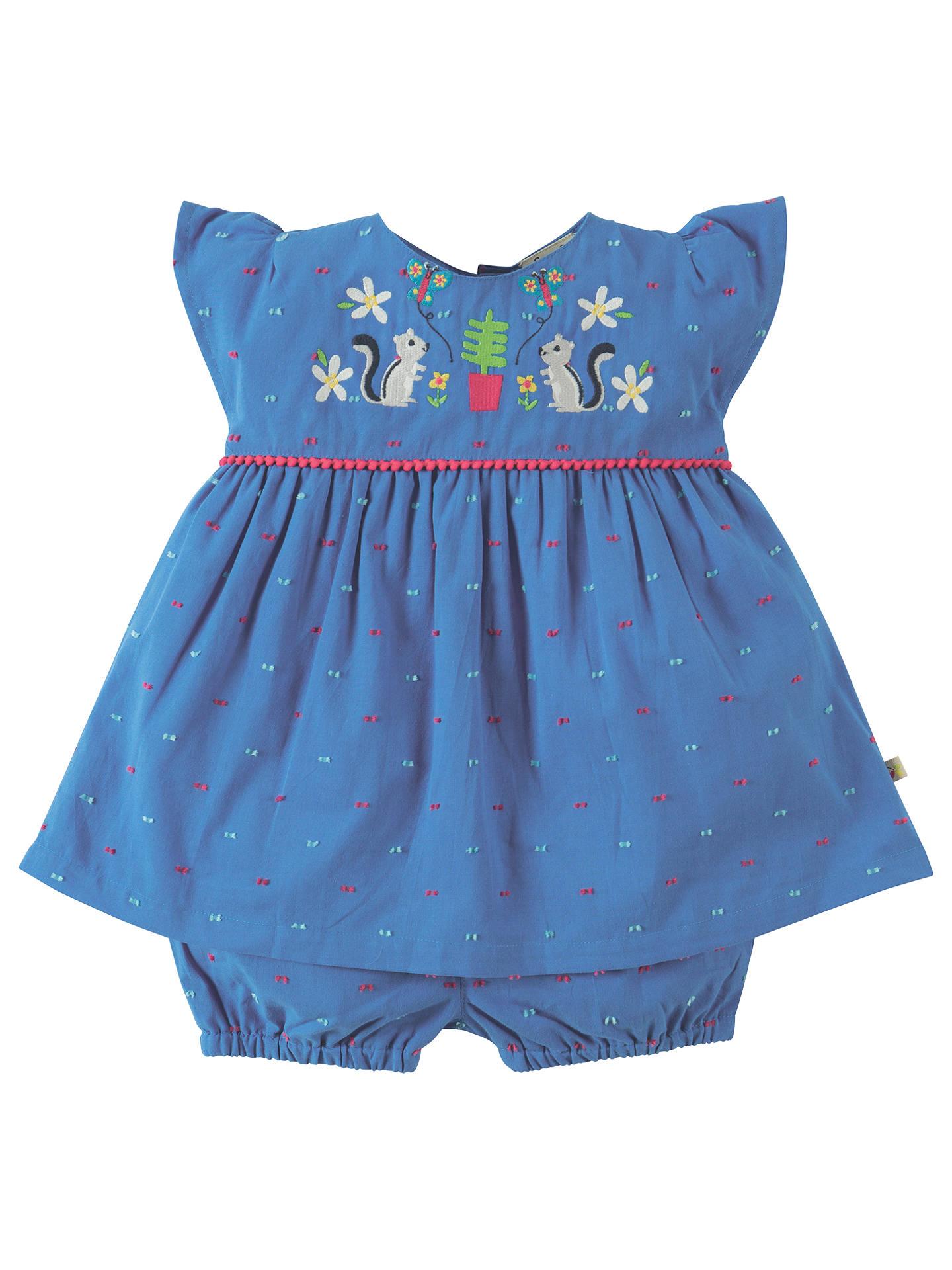5d29845a4b7a9 Buy Frugi Organic Baby Dobby Squirrel 2 Dress & Knickers Set, Blue, 0- ...