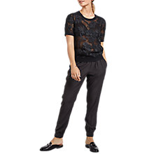 Buy hush Short Sleeve Flora Knit Top, Black Online at johnlewis.com