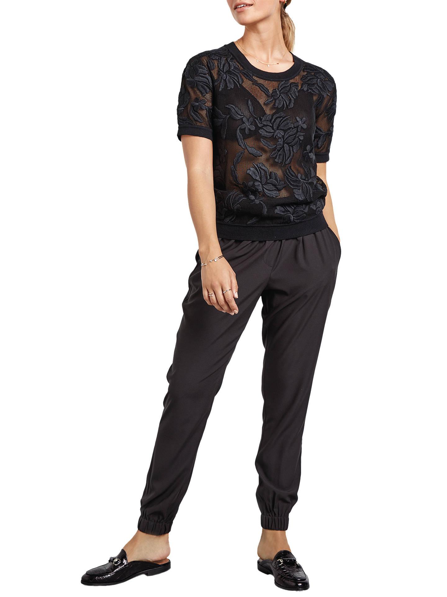 1ad347fe81bd4f Buy hush Short Sleeve Flora Knit Top, Black, XS Online at johnlewis.com ...