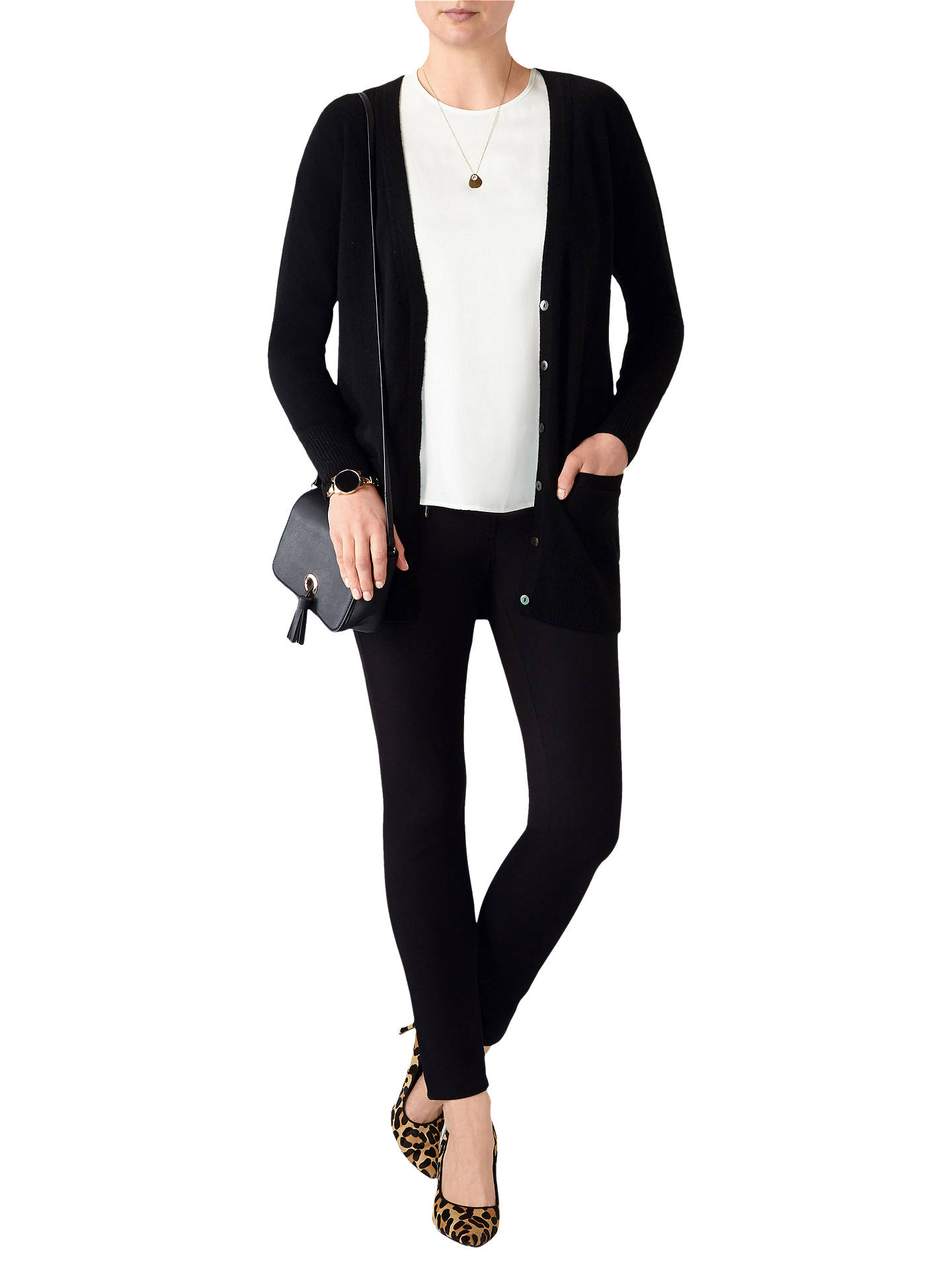 Buy Pure Collection Cashmere Boyfriend Cardigan, Black, 18 Online at johnlewis.com