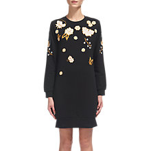 Buy Whistles Embroidered Sweat Dress, Black Online at johnlewis.com