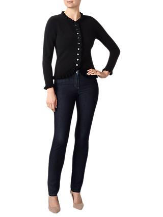 Pure Collection Cashmere Ruffle Edge Cardigan, Black