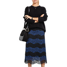 Buy hush Odessa Lace Skirt, Black/Midnight Online at johnlewis.com