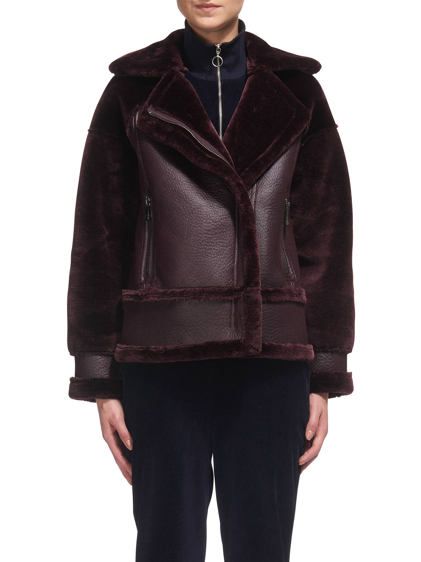BuyWhistles Faux Fur Biker Jacket, Burgundy, XS Online at johnlewis.com