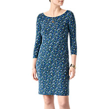 Buy Pure Collection Slash Neck Jersey Shift Dress, Blue/Multi Online at johnlewis.com