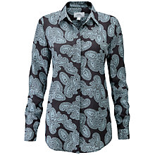 Buy Pure Collection Washed Silk Blouse, Charcoal Paisley Online at johnlewis.com